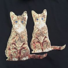 2e4cbfea611cc 2x Cat Gold Brown Sequin Tshirt Dress Animal Patch Glitter Pet Applique