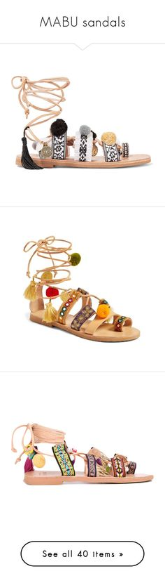 """""""MABU sandals"""" by harikleiatsirka ❤ liked on Polyvore featuring shoes, sandals, flats, pom pom sandals, leather flat shoes, leather sandals, fringe shoes, pom pom leather sandals, bohemian sandals and embroidered sandals"""
