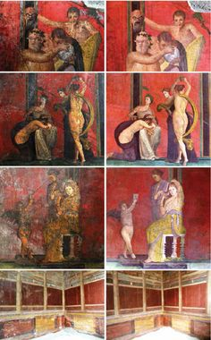 Several of the frescoes from Pompeii's Villa of the Mysteries shown before (left) and after (right) the completion of a two-year-long restoration and conservation project.