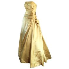 Preowned Exceptional 1950s Harvey Berin For I. Magnin Gold Vintage 50s... ($1,090) ❤ liked on Polyvore featuring dresses, gowns, vintage, long dresses, multiple, gold evening dresses, gold evening gowns, vintage gowns, strapless dress and couture evening gowns