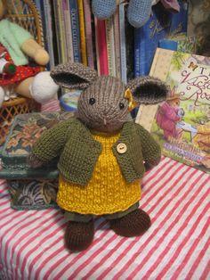 Little Bunnykin   Small knitted bunny rabbit by dollsandbunnies