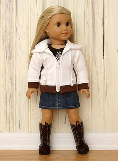 American Girl Doll Clothes-White Hoodie Set