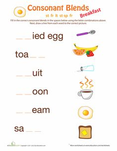 Worksheets: Breakfast Consonant Blends
