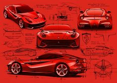 formtrends:Ferrari F12 Berlinetta car design sketches by design director Flavio Manzoni