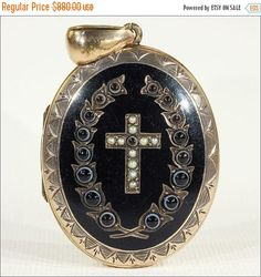 SALE Lovely Victorian Wreath and Cross Mourning Locket with Black Enamel, Banded Agate and Pearls