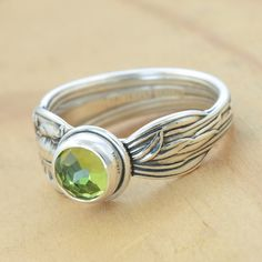Spoon Ring with Peridot Upcycled Sterling Silver by metalsmitten, $75.00 One of a Kind