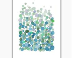 Azul verde burbujas abstracta pintura de la acuarela, acuarela impresión giclee