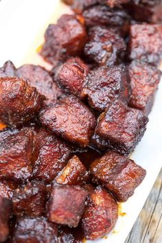 Smoked Pork Belly Burnt Ends Pork Belly Burnt Ends are so easy to make and the most flavorful and tender smoked meat you could ever want! This is a pork version of burnt ends. Recipe Video how to and recipe! Smoked Meat Recipes, Smoked Pork, Pellet Grill Recipes, Grilling Recipes, Electric Smoker Recipes, Grilling Ideas, Bbq Ideas, Bbq Pork, Pork Ribs