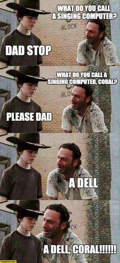 The Walking Dead Memes. Updated daily, for more funny memes check our homepage. Walking Dead Funny, Walking Dead Coral, The Walking Dad, Memes Humor, Twd Memes, Man Humor, Dad Jokes, Funny Jokes, Hilarious