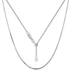 10K White Gold Adjustable Box Link Chain - Width 0.85mm - Length 22 Inch