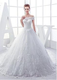 Elegant Tulle Off-the-shoulder Neckline Ball Gown Wedding Dresses With Lace…