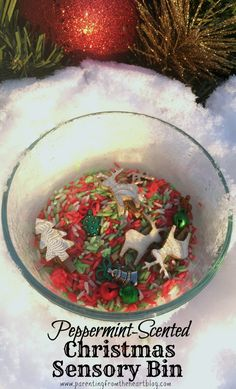 Have fun with a Holiday-themed sensory bin by making coloured rice. Also find out the benefits of sensory play and other simple sensory bin ideas in this Christmas sensory bin post. The recipe is really simple to follow and smells like peppermint! Great for early childhood education, play-based learning, learning through play and more.