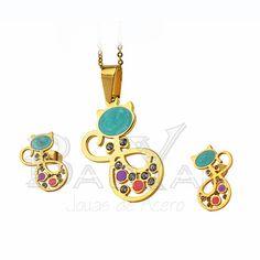 gato juego joyas doradas esmaltes de acero con circones