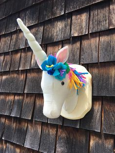 Mounted Unicorn plush faux taxidermy trophy head rainbow