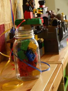 Use mason jars filled with lego bricks as balloon weights Lego Themed Party, Lego Birthday Party, Boy Birthday, Birthday Parties, Birthday Ideas, Lego Parties, Ninjago Party, Lego Party Decorations, Party Centerpieces