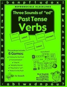 "Three Sounds of ""ed"" Past Tense Verbs - Grammar Games and Lesson Plans  The 3… #super Hashtags: The #Maj #Grammar"