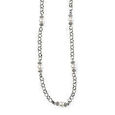 "-SORRENTO- ""This antique silver chain is interrupted with small cream pearls for a rustic, yet charming necklace that's also attractive as a belt or bracelet."" http://LMAWBY.mialisia.com"