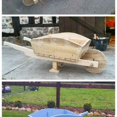 Pallet Wheelbarrow Used as a Planter and Decoration for My Garden