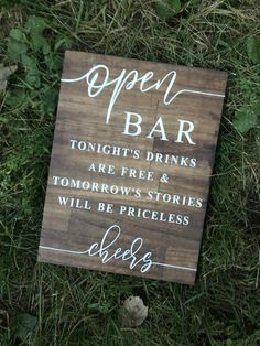 Open Bar Wedding Sign, Wedding Sign, Wooden Wedding Sign, Open Bar Sign is part of Wedding bar sign Open bar sign! Adds a beautiful rustic touch to any wedding!Wood sign with kona stain and white vi - Wooden Wedding Signs, Wedding Signage, Wedding Bar Signs, Funny Wedding Signs, Wedding Yard Games, Diy Wedding Bar, Wedding Sayings, Rustic Signs, Diy Wedding Decorations
