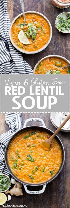 This spiced Vegan Red Lentil Soup is a warm, comforting meal that comes together in just 45 minutes. It's full of flavor from ginger, garlic, and spices, with a luxuriously rich texture. It's perfect with a squeeze of lemon to brighten things up!
