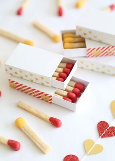 Shortbread matchstick cookies for Valentine's Day