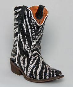 Look what I found on #zulily! Tanner Mark Boots Black & White Sequin Zebra Cowboy Boot - Kids by Tanner Mark Boots #zulilyfinds