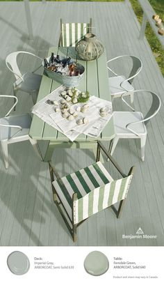 """Bring the vibrant greens of summer into your wood stains with """"Imperial Gray"""" or """"Ferndale Green"""" and relax this summer knowing your deck is protected with Benjamin Moore ARBORCOAT stain; specifically formulated for your outdoor wood projects."""