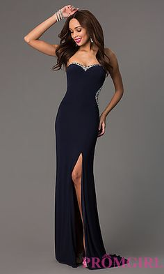 Strapless Sweetheart Floor Length Navy Dress with Side Slit  at PromGirl.com