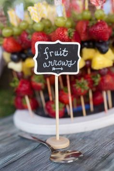 Fruit kebab arrows from Summer Camp + Camping Birthday Party from The Place for All Things Party--Kara's Party Ideas!