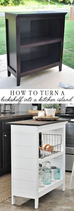 Turn an old bookcase into a kitchen island! Find the tutorial here… SUPER CLEVER! Turn an old bookcase into a kitchen island! Find the tutorial here: www. Furniture Projects, Home Projects, Furniture Plans, Diy Home Furniture, Furniture Websites, Apartment Furniture, Apartment Kitchen, Furniture Online, Diy Furniture Makeovers