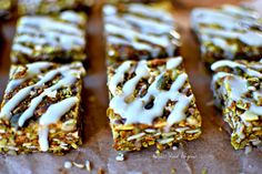 Matcha Green Tea Granola Bites with Yuzu Drizzle (vegan/gf recipe) by kellie anderson Gf Recipes, Lunch Recipes, Gluten Free Recipes, Dessert Recipes, Desserts, Granola Bites, Yummy Healthy Snacks, Matcha Green Tea, Glow