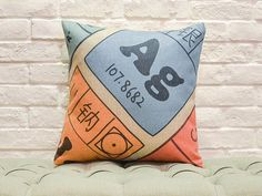 School Range of Cushions The Periodic Table  Covers removable for washing Filled with 100% Australian Alpaca Fibre