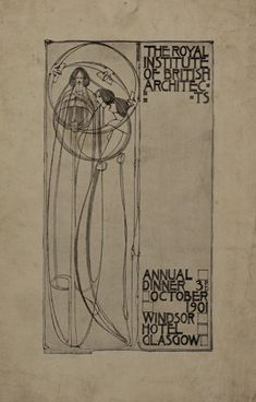 Cover of menu for R.I.B.A. Annual Dinner, 3rd Oct. 1901  - Charles Rennie Mackintosh