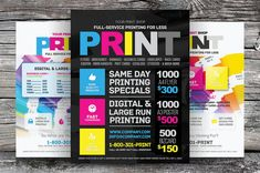 A flyer template pack ideal for promoting a print shop or services. Available in 3 design variation in 2 print sizes (US-letter & the templates