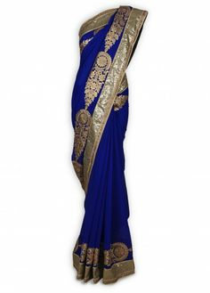 Blue Chiffon Sari with Sequence Border