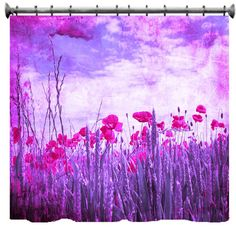 Pink & Purple Grungy Poppies Shower Curtain 69 X 70 by susanakame1, $99.00