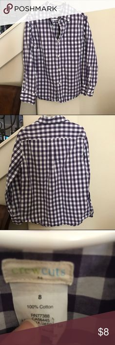 "J.Crew Boys purple/white checked button down-LOVE! EUC, gently worn and PERFECT for holidays!! Love these shirts.  Crew Cuts by J. Crew (their kids line). So handsome on young men 😘. My son wore with jeans and he was ""dressed up"". Sad he grew out of this one. J. Crew Shirts & Tops Button Down Shirts"