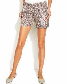 INC Snakeskin-Print Shorts
