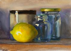 Daily painting titled  Still Life with Lemon, cup and  jars