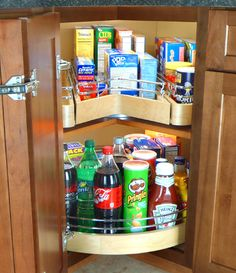 "The Easy Access Corner Pantry is a single shelf corner unit with full extension drawer. Providing efficient space utilization of the corner cabinet, the unit measures 30"" in diameter with 25"" deep drawer, and rotates 360 degrees. The pull-out drawer is 5/8"" solid birch and has 90 lb. full-extension soft close under-mount slides. The Single Easy Access Corner Pantry is designed to attach to a fixed shelf in a corner cabinet. It features maple and birch constr..."