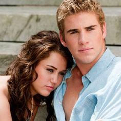 Liam Hemsworth and Miley before she went crazy and cut off her gorgeous hair