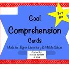 Cool Comprehension Cards Set #2 (Great for Upper Elementary and Middle School Teachers!) This packet contains a variety of Reader Response Questions!