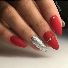 Christmas nails 🎄 🎅 🏻 red acrylic nails, red gel nails, gel manicure, al Red Acrylic Nails, Red Nail Art, Acrylic Nail Designs, Red Gel Nails, Red Nail Designs, Pink Nails, Glitter Nails, Red Manicure, Acrylic Nails Almond Short
