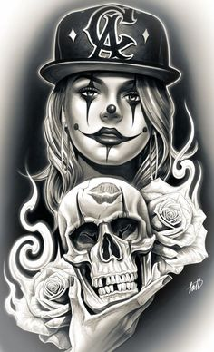 The Beautiful & Blessed - Top 500 Best Tattoo Ideas And Designs For Men and Women Skull Girl Tattoo, Clown Tattoo, Skull Tattoos, Body Art Tattoos, Tattoo Art, Girl Tattoos, Sleeve Tattoos, Arte Cholo, Cholo Art