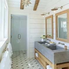 Concrete Sink, Cottage, bathroom, M. Elle Design