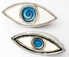 Ceramic Art - Ceramic three dimensional table art made in Greece ceramic evil blue eye protector