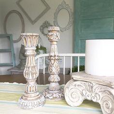 Français bougie titulaires or blanc Shabby Chic Wedding Table pièce maîtresse ensemble de 2 peints à la main