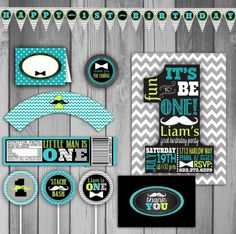 ONE Birthday Party Pack Mustache Birthday Party by CLaceyDesign, $35.00