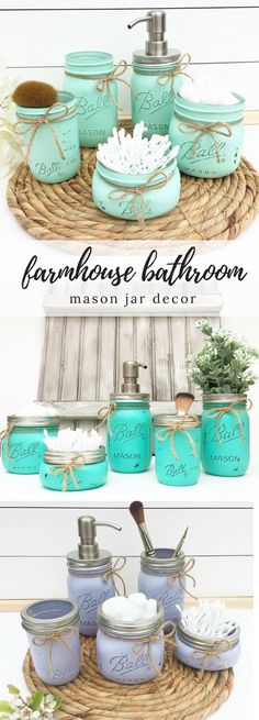 Mason Jar Bathroom Set, Bathroom Organization, Soap Dispenser, Rustic Home Decor, Bathroom Decor, Farmhouse Bathroom, Bath Set, Gift for Her #farmhousebathroom #farmhousedecor #masonjardecor #diymasonjar #masonjardiy #bathroomideas