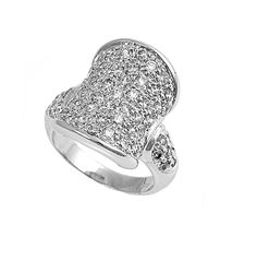 Concave Pave Cubic Zirconia Ring Sterling Silver 925 *** Special  product just for you. See it now! : Jewelry Ring Statement